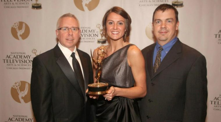 Steve Nelson, Emmy Fink and Chad Diedrick at the Chicago Emmy Awards