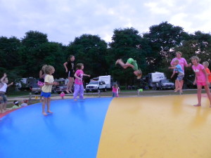 "A ""Kid Approved"" jumping pillow at Wilderness Campground in Montello, Wis."