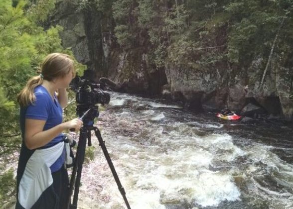 Series producer Jennifer Ingish films on the Wolf River for a 2016 episode of Discover Wisconsin.