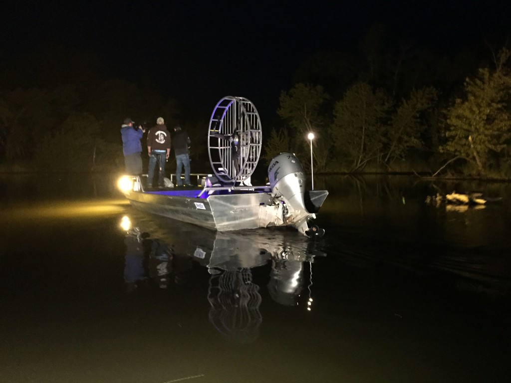 The Discover Wisconsin crew goes bowfishing at night
