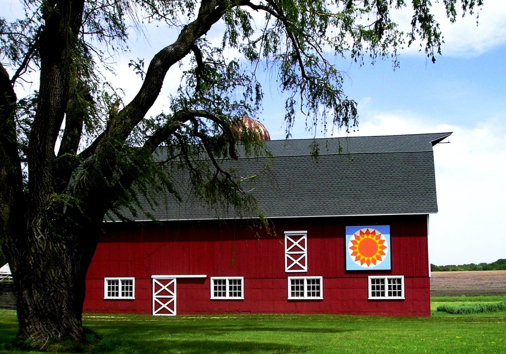 "The Ames Barn's ""Sunburst"" quilt design can be seen from Bowers Road in Elkhorn, Wis."