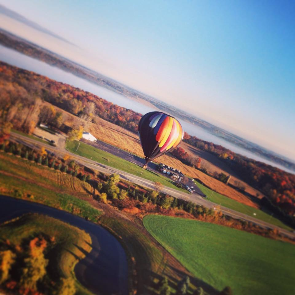 Take a hot air balloon ride over Lake Geneva during the fall