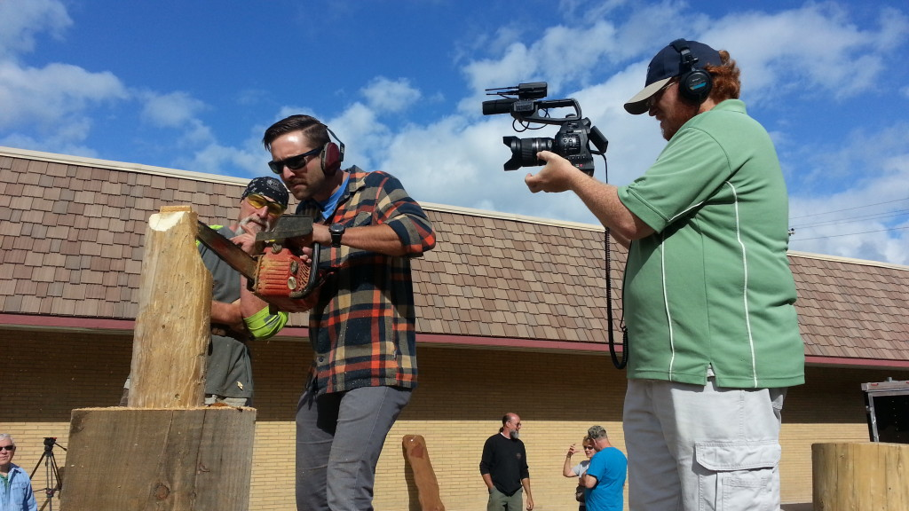 Co-host Collin and videographer Jason at Paul Bunyan Festival in Eagle River.