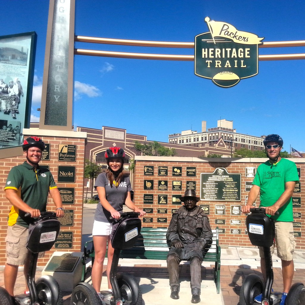 The Packers Heritage Trail Plaza is a great stop for a photo opp